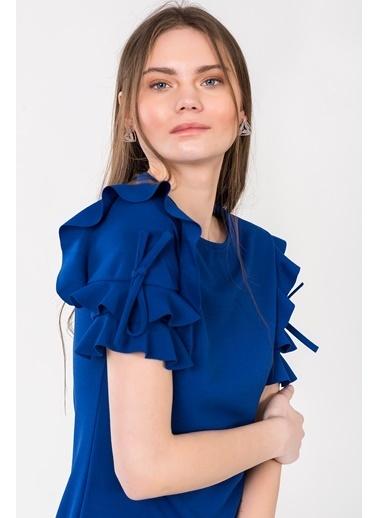 İroni Kolları Fırfırlı Mini Elbise Saks